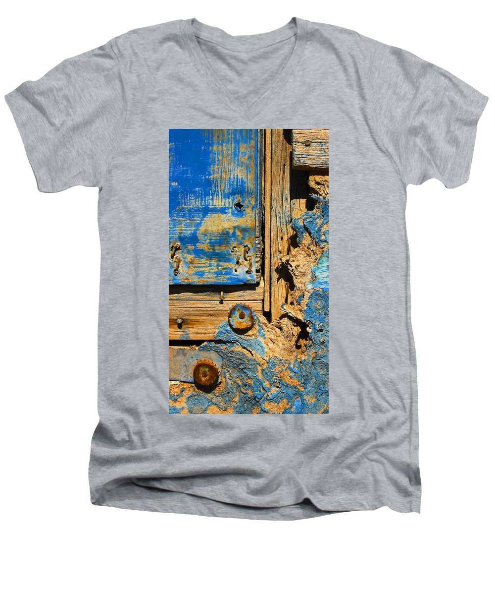 Abstract Men's V-Neck T-Shirt featuring the photograph Blues Dues by Skip Hunt