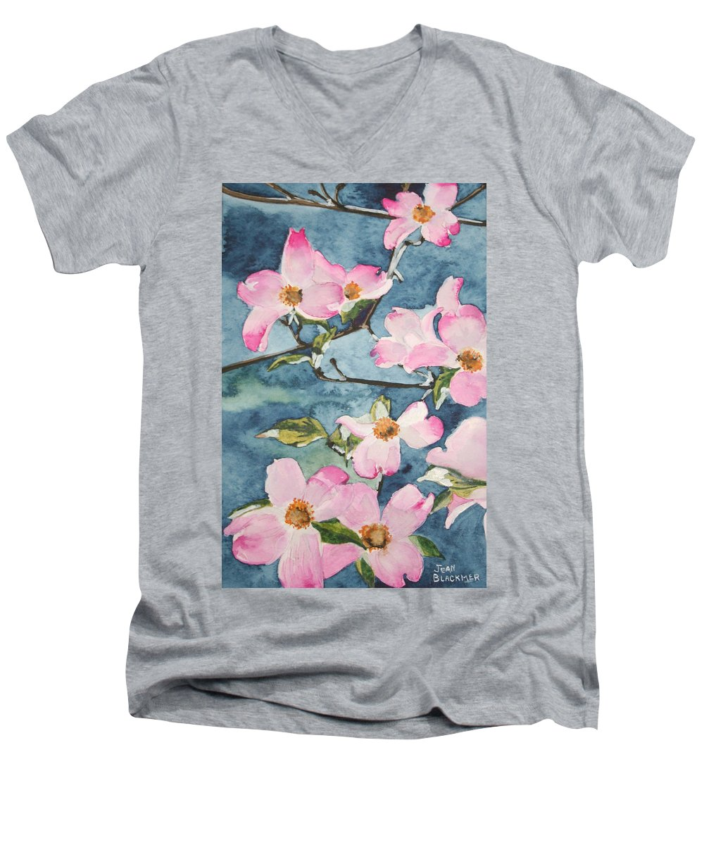 Flowers Men's V-Neck T-Shirt featuring the painting Blushing Prettily by Jean Blackmer