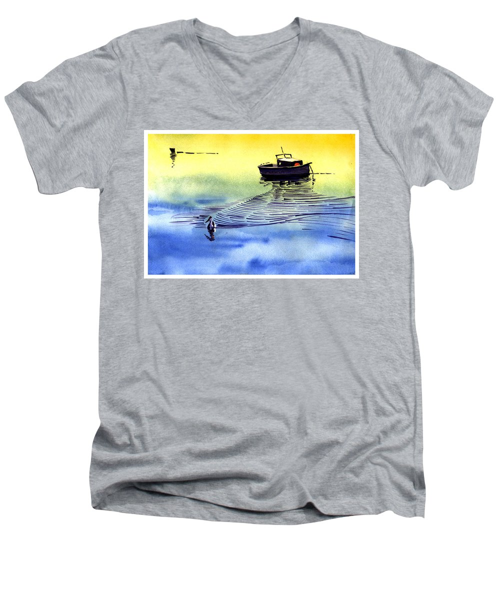 Watercolor Men's V-Neck T-Shirt featuring the painting Boat And The Seagull by Anil Nene