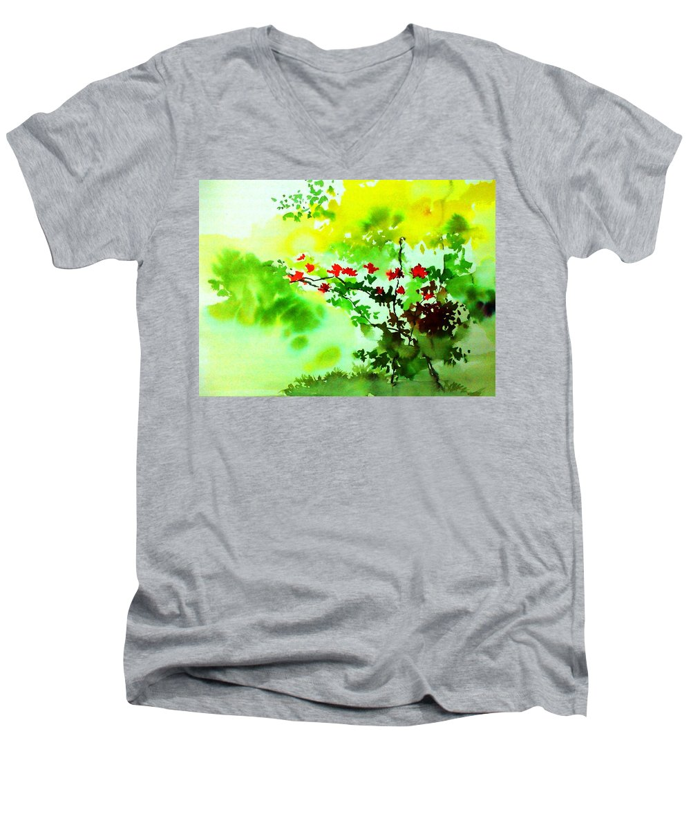 Floral Men's V-Neck T-Shirt featuring the painting Boganwel by Anil Nene