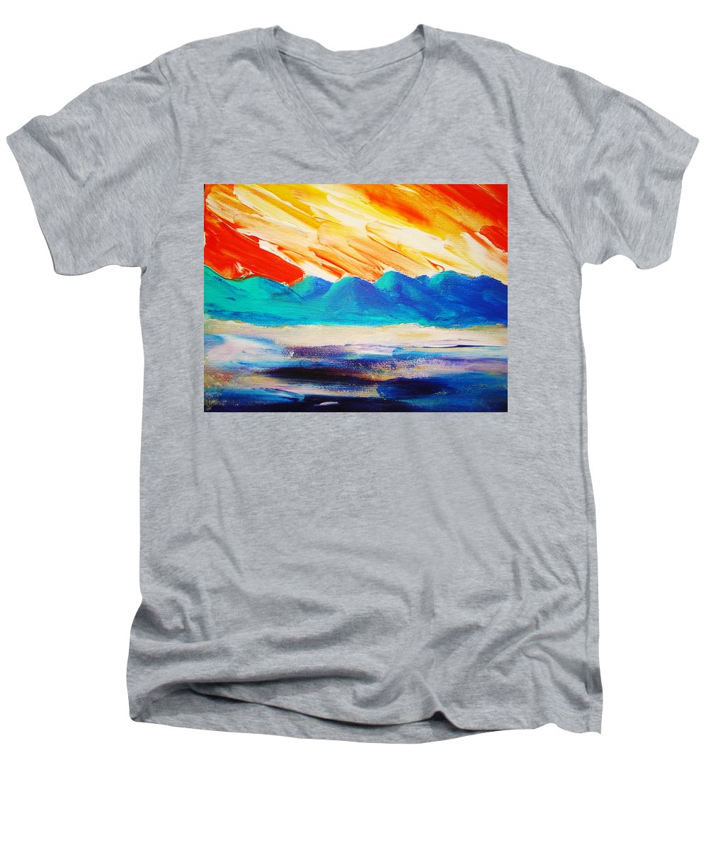 Bright Men's V-Neck T-Shirt featuring the painting Bold Day by Melinda Etzold