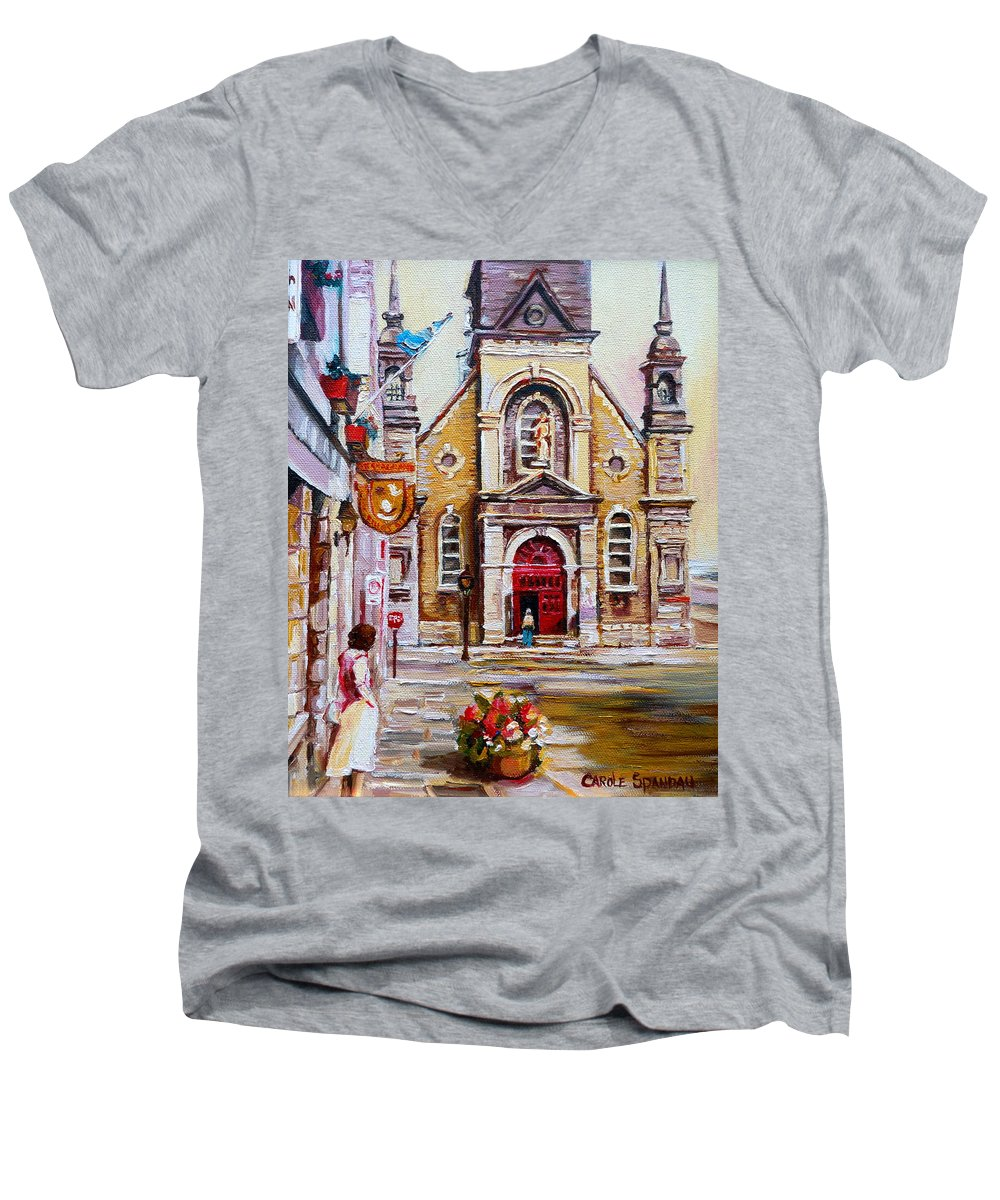 Montreal Churches Men's V-Neck T-Shirt featuring the painting Bonsecours Church by Carole Spandau