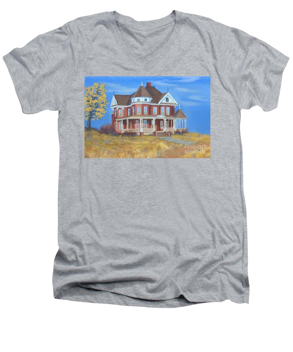 Boulder Men's V-Neck T-Shirt featuring the painting Boulder Victorian by Jerry McElroy