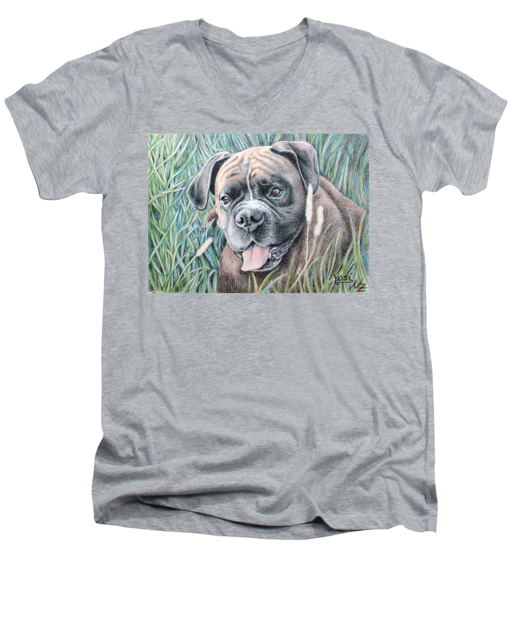 Dog Men's V-Neck T-Shirt featuring the drawing Boxer Yosi by Nicole Zeug