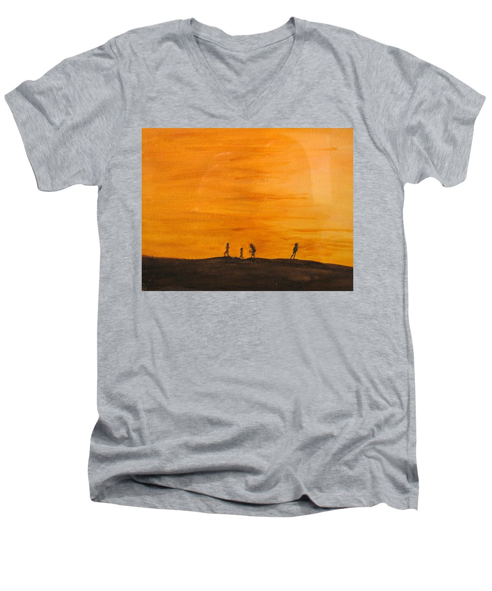 Boys Men's V-Neck T-Shirt featuring the painting Boys At Sunset by Ian MacDonald