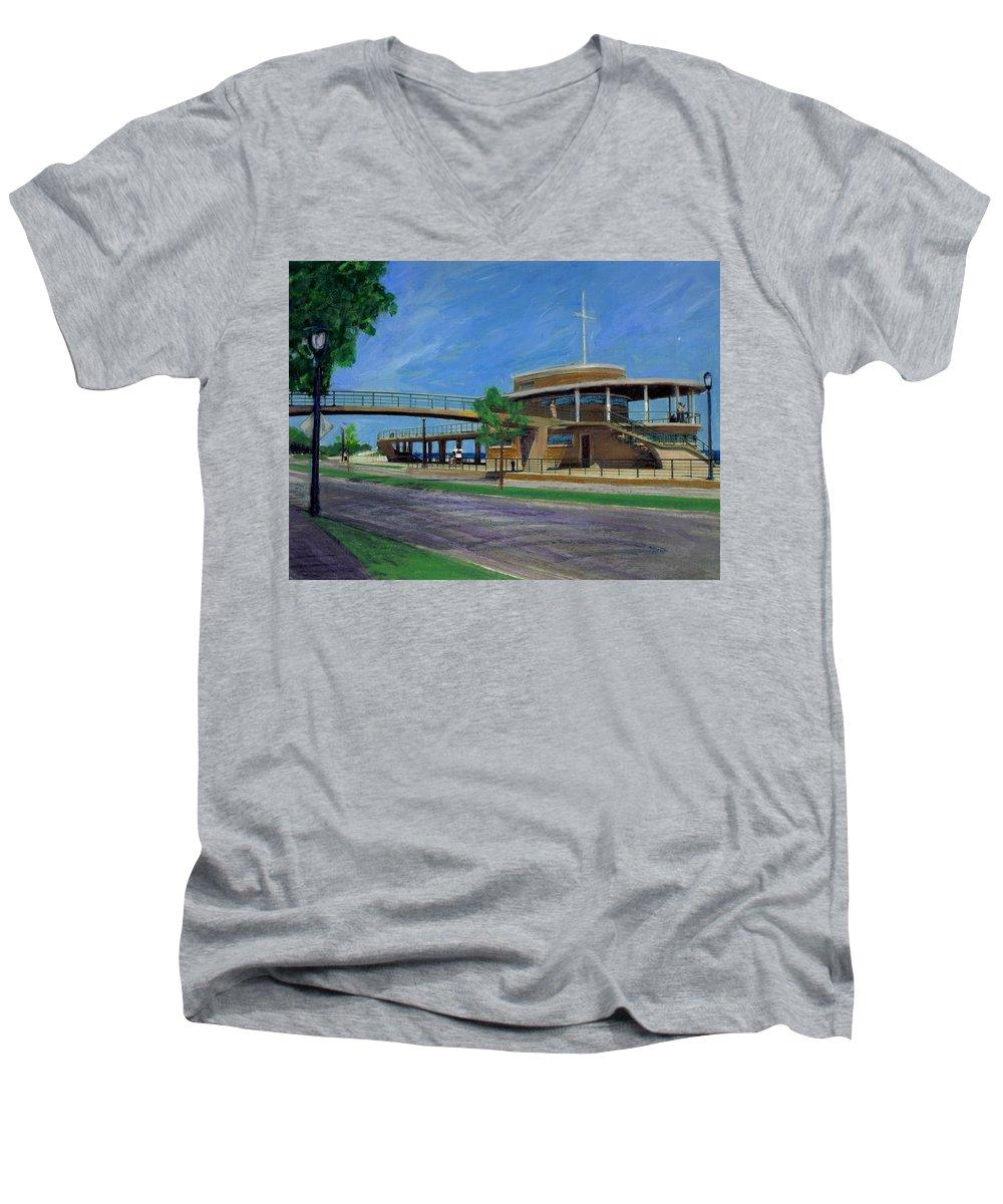 Miexed Media Men's V-Neck T-Shirt featuring the mixed media Bradford Beach House by Anita Burgermeister