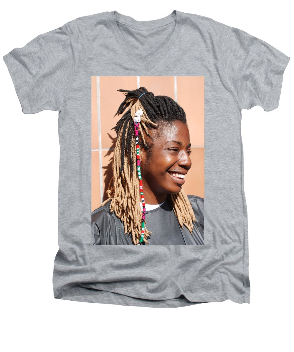 People Men's V-Neck T-Shirt featuring the photograph Braided Lady by Rob Hans