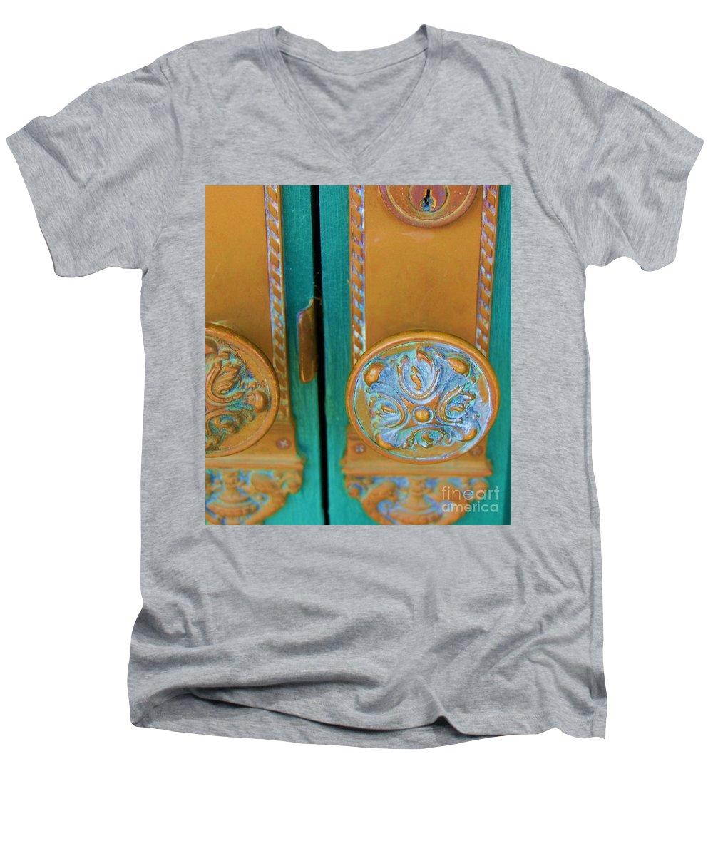 Door Men's V-Neck T-Shirt featuring the photograph Brass Is Green by Debbi Granruth