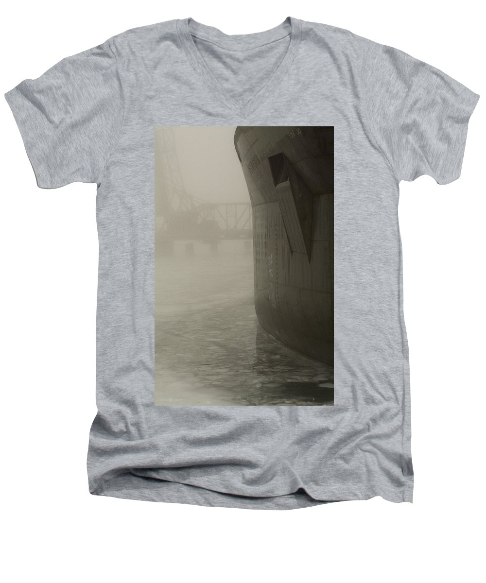 Water Men's V-Neck T-Shirt featuring the photograph Bridge And Barge by Tim Nyberg