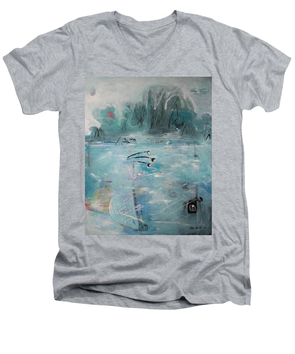 Abstract Paintings Men's V-Neck T-Shirt featuring the painting Brierly Beach by Seon-Jeong Kim