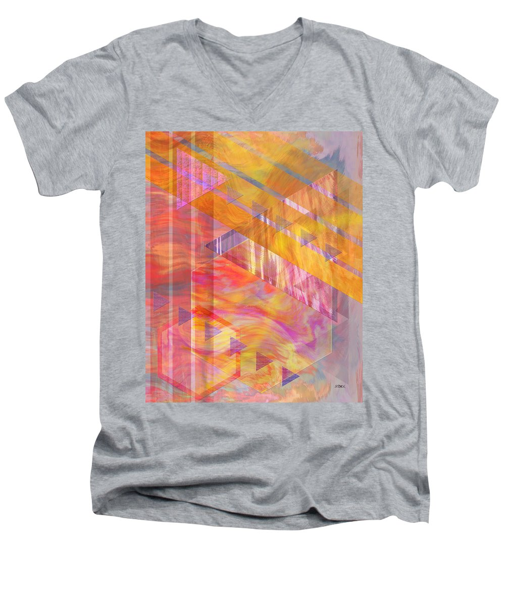 Affordable Art Men's V-Neck T-Shirt featuring the digital art Bright Dawn by John Beck