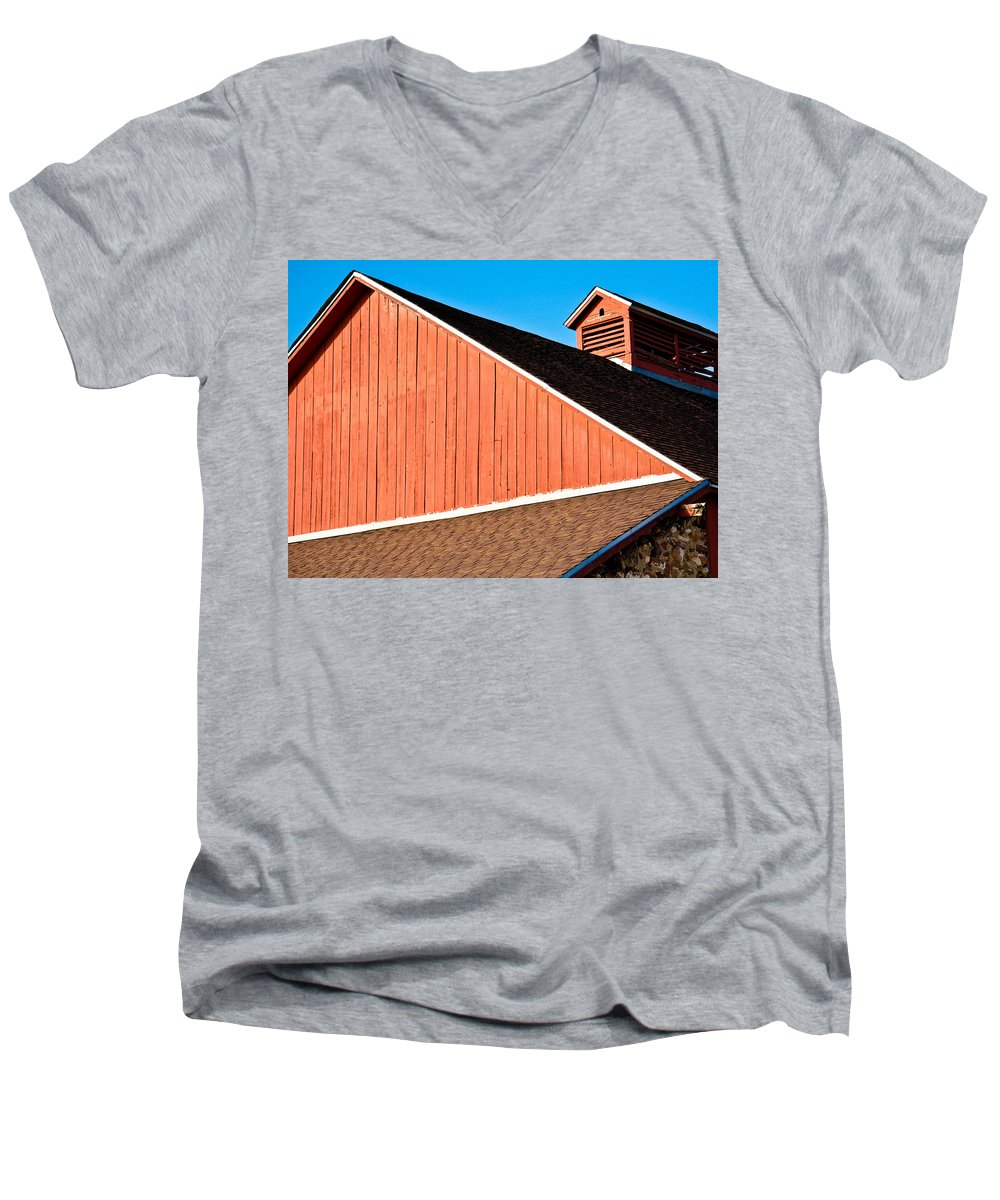 Americana Men's V-Neck T-Shirt featuring the photograph Bright Red Barn by Marilyn Hunt