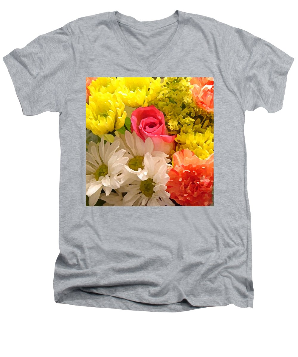 Floral Men's V-Neck T-Shirt featuring the painting Bright Spring Flowers by Amy Vangsgard