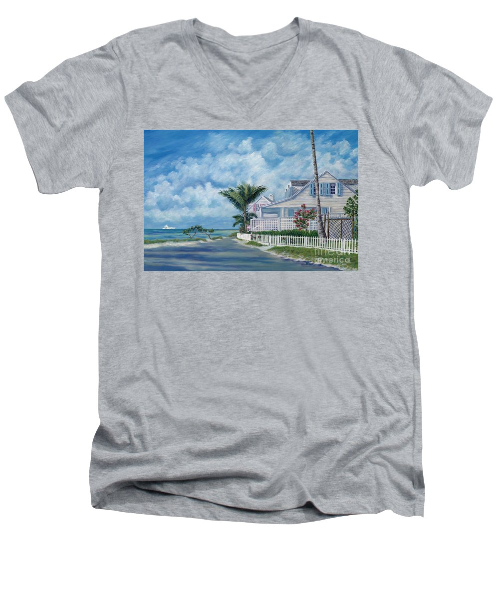 Harbor Island Men's V-Neck T-Shirt featuring the painting Briland Breeze by Danielle Perry