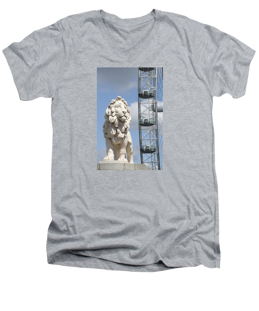Lion Men's V-Neck T-Shirt featuring the photograph Britannia Lion by Margie Wildblood
