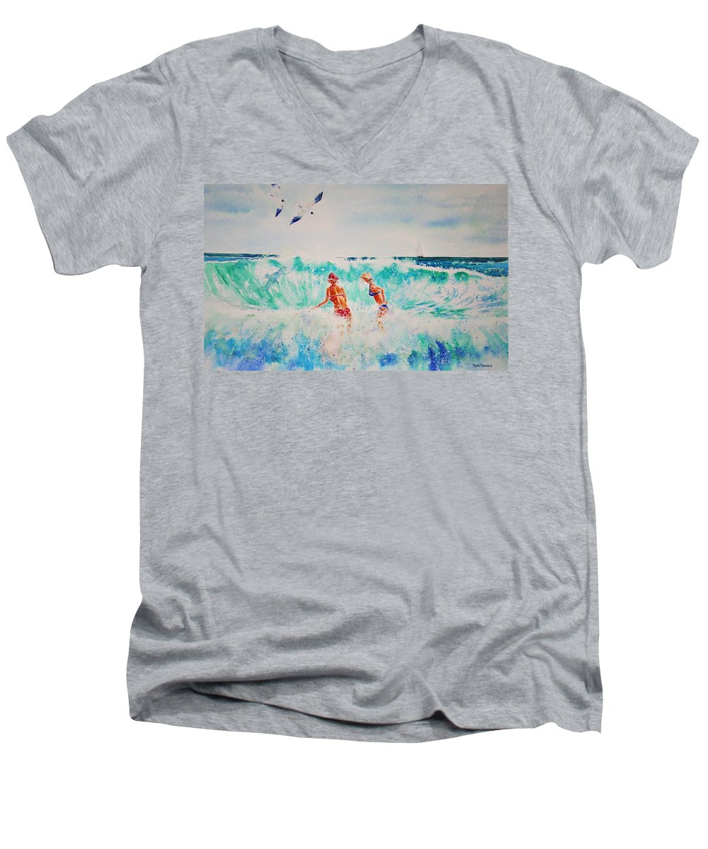 Surf Men's V-Neck T-Shirt featuring the painting Brooke And Carey In The Shore Break by Tom Harris