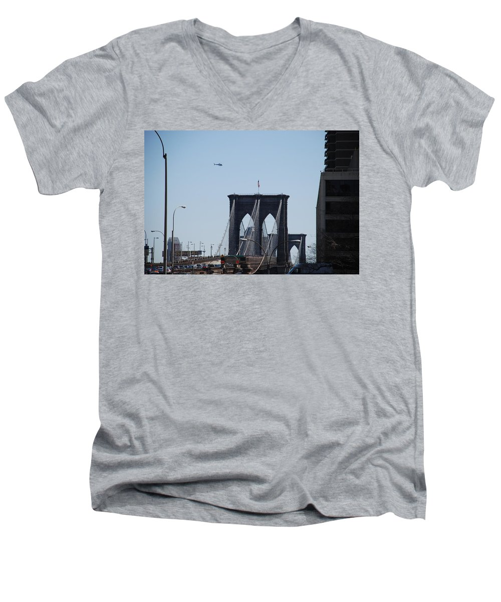 Architecture Men's V-Neck T-Shirt featuring the photograph Brooklyn Bridge by Rob Hans