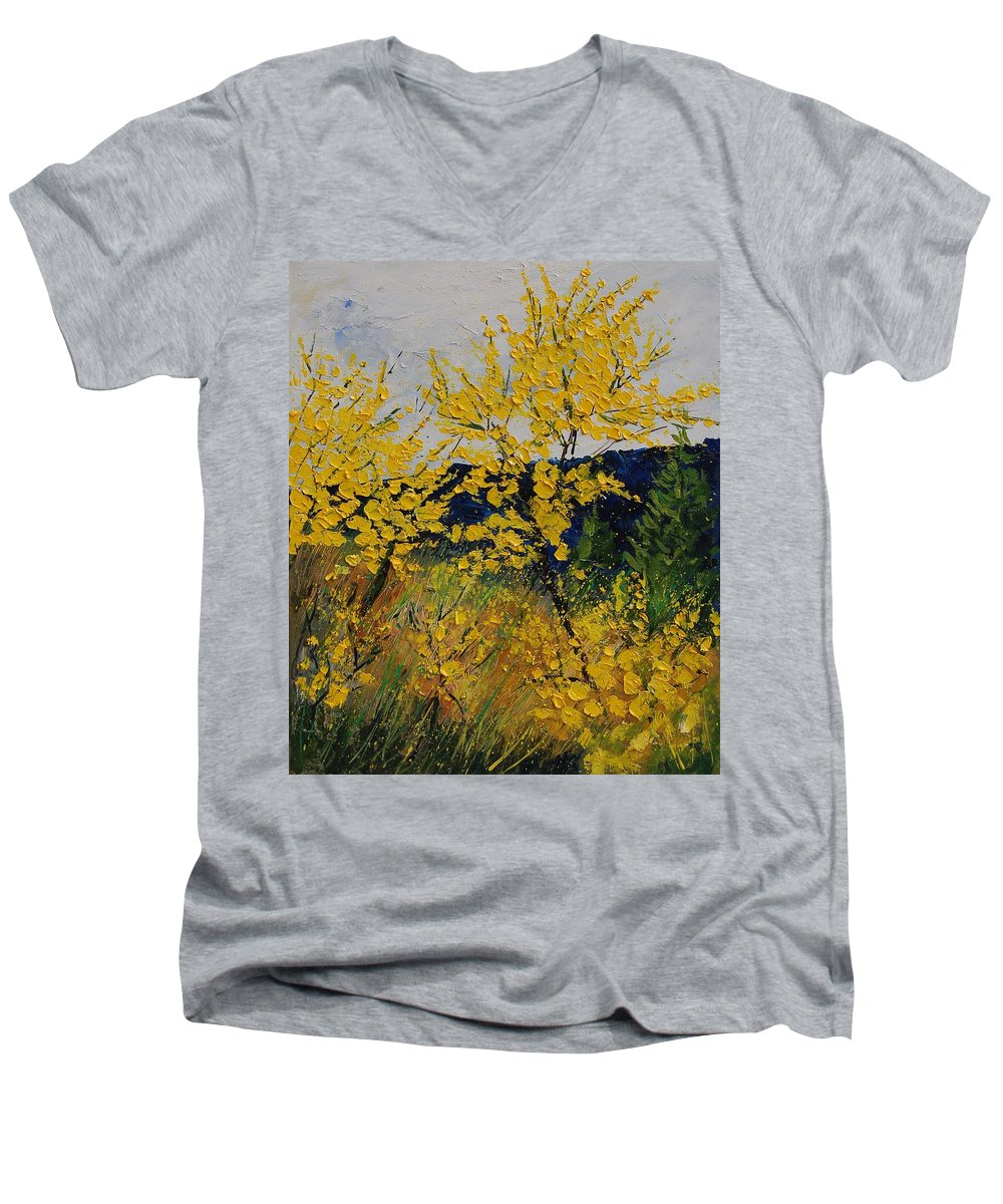 Flowers Men's V-Neck T-Shirt featuring the painting Brooms by Pol Ledent