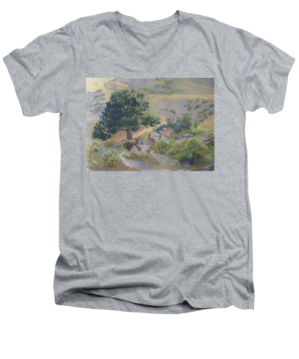 Pine Tree Men's V-Neck T-Shirt featuring the painting Buckhorn Canyon by Heather Coen