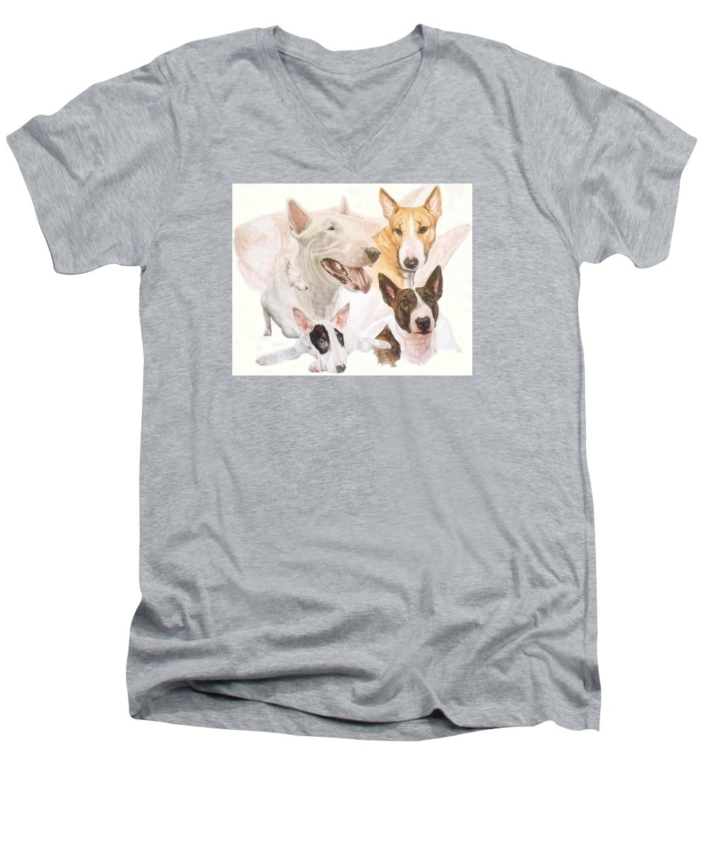 Purebred Men's V-Neck T-Shirt featuring the mixed media Bull Terrier W/ghost by Barbara Keith