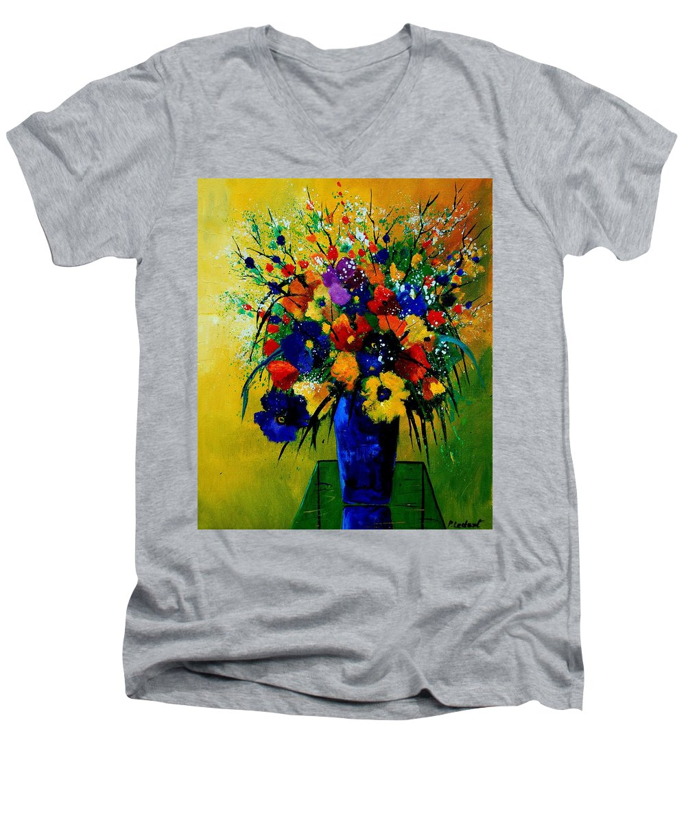 Poppies Men's V-Neck T-Shirt featuring the painting Bunch 0508 by Pol Ledent