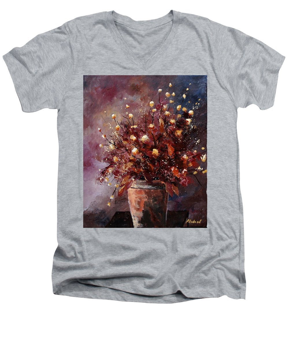 Poppies Men's V-Neck T-Shirt featuring the painting Bunch 56 by Pol Ledent