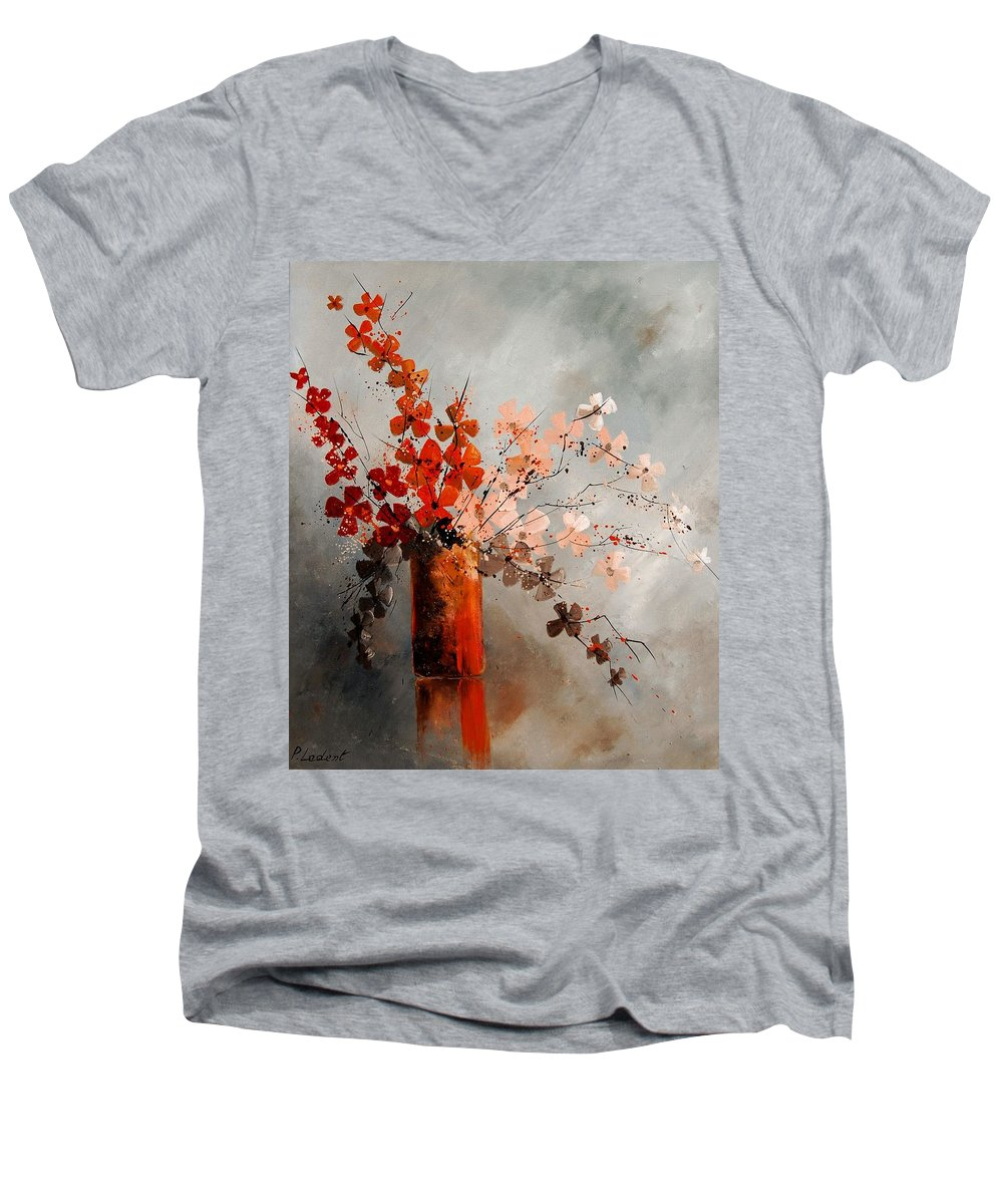 Flowers Men's V-Neck T-Shirt featuring the painting Bunch 670908 by Pol Ledent