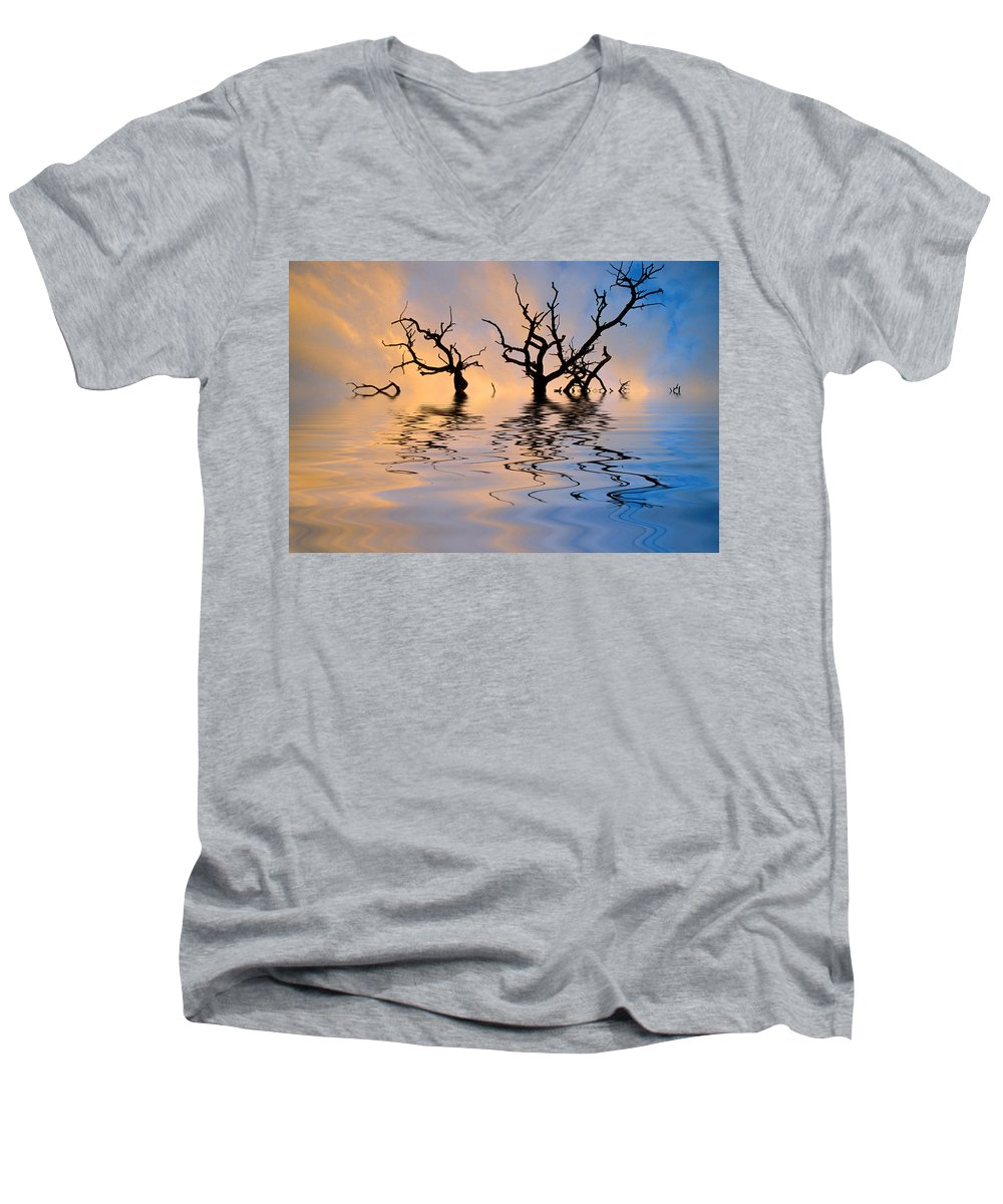 Original Art Men's V-Neck T-Shirt featuring the photograph Slowly Sinking by Jerry McElroy