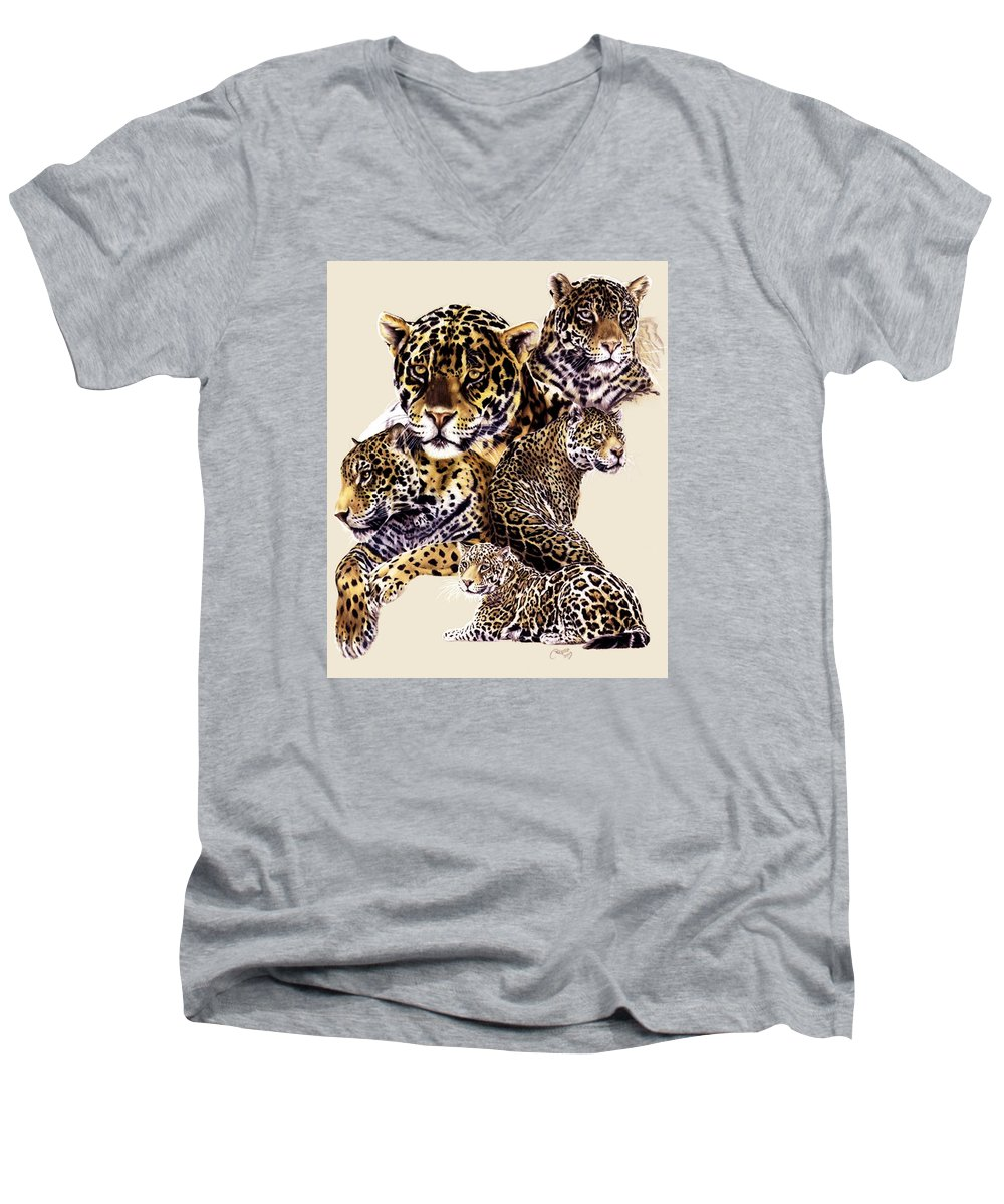 Jaguar Men's V-Neck T-Shirt featuring the drawing Burn by Barbara Keith