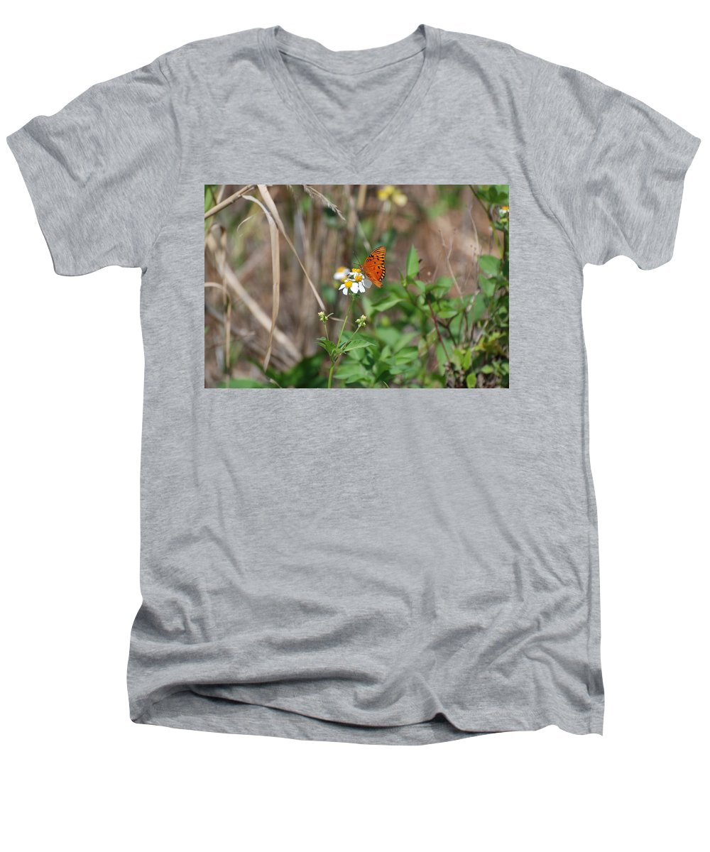 Butterfly Men's V-Neck T-Shirt featuring the photograph Butterfly Flower by Rob Hans