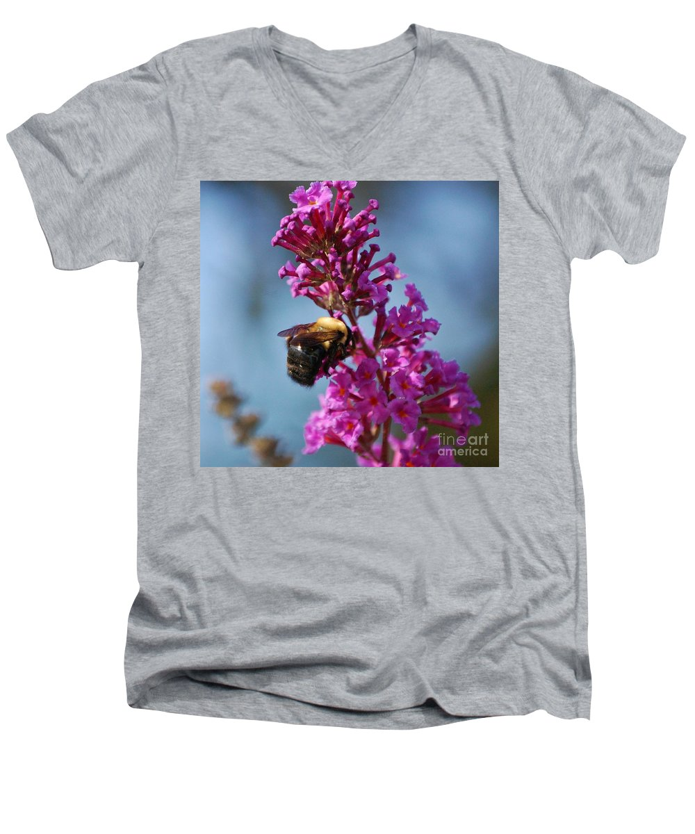 Bee Men's V-Neck T-Shirt featuring the photograph Buzzed by Debbi Granruth