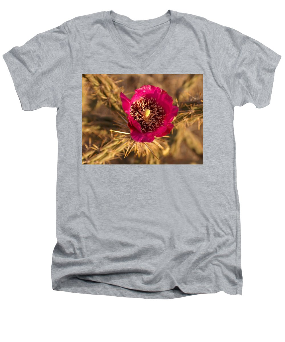 Cactus Flowers Wildflowers Men's V-Neck T-Shirt featuring the photograph Cactus Flower 1 by Tim McCarthy