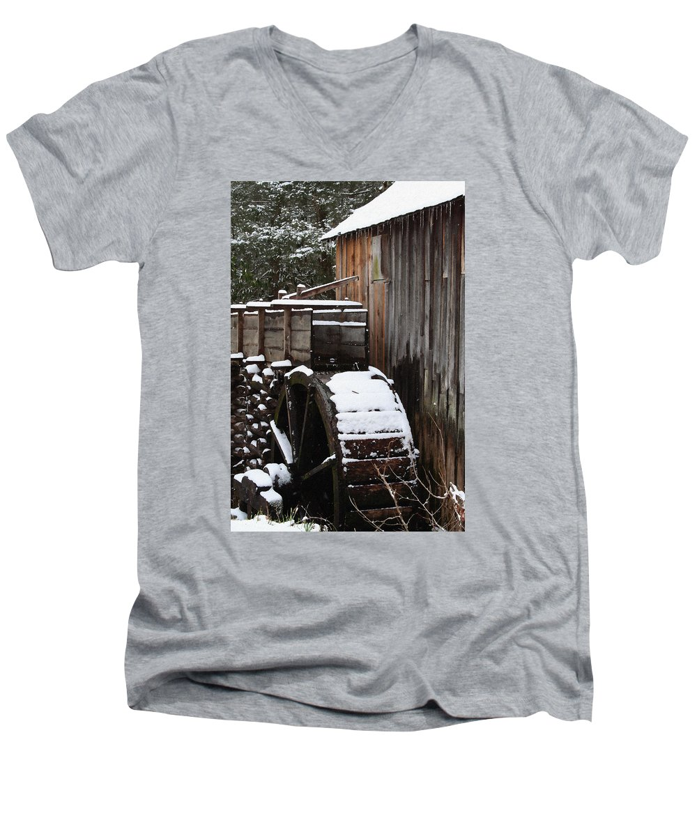 Great Smoky Mountains Men's V-Neck T-Shirt featuring the photograph Cades Cove Mill I by Margie Wildblood