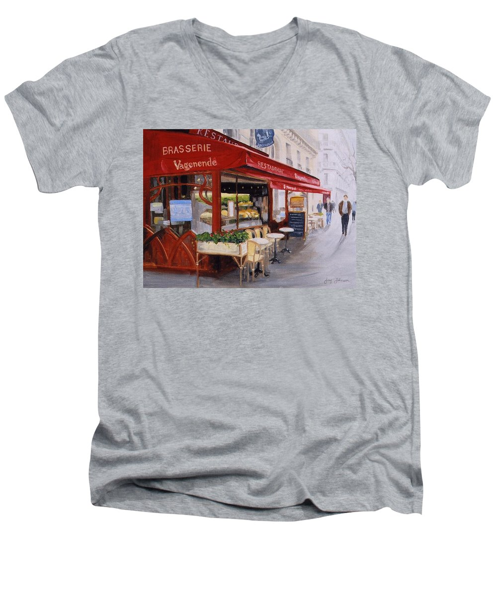Cafe Men's V-Neck T-Shirt featuring the painting Cafe 4 by Jay Johnson