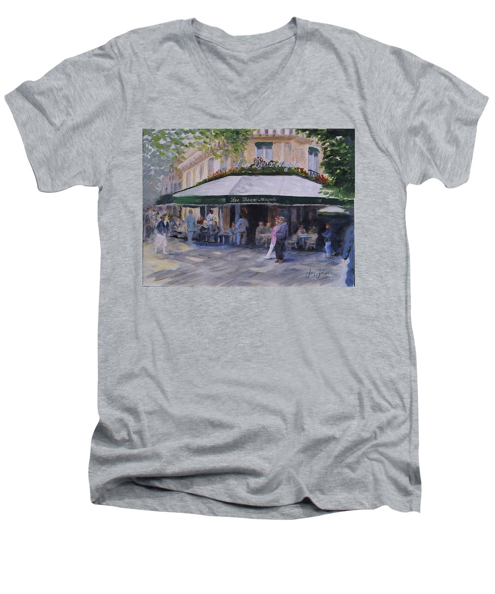 Cafe Magots Men's V-Neck T-Shirt featuring the painting Cafe Magots by Jay Johnson