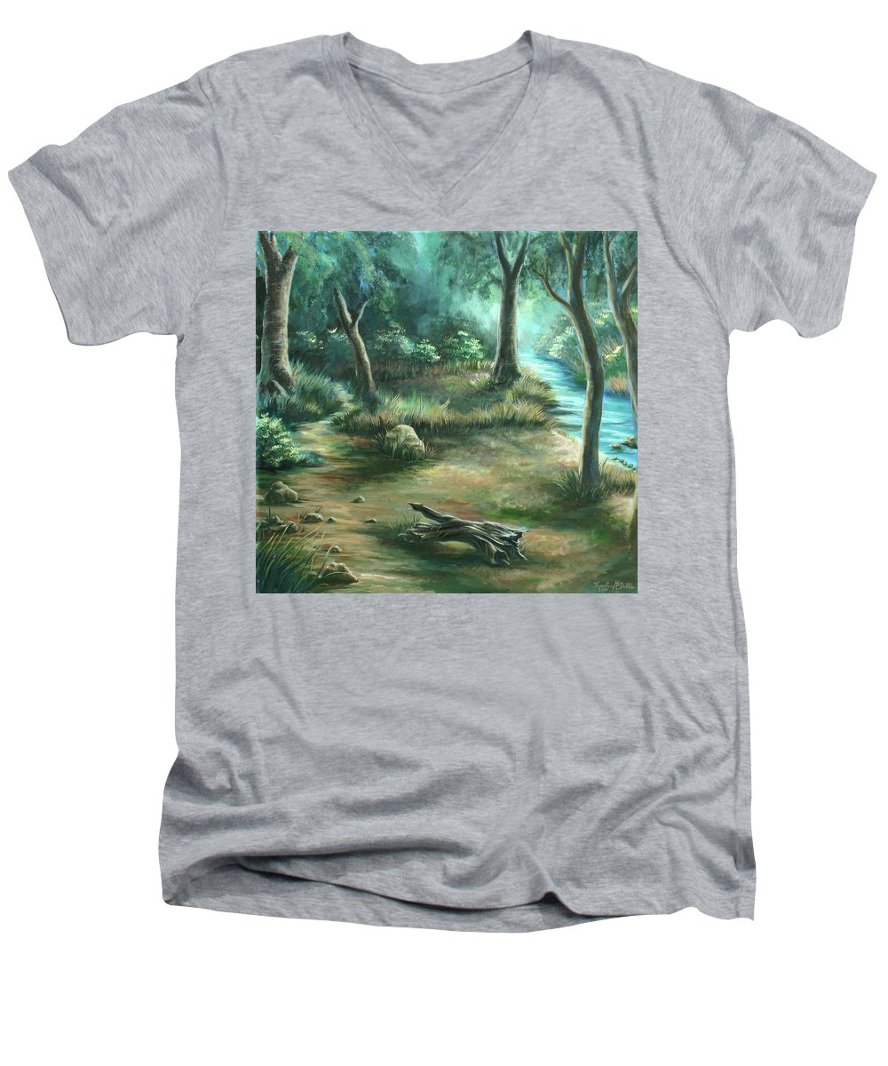 Landscape Men's V-Neck T-Shirt featuring the painting Camping At Figueroa Mountains by Jennifer McDuffie