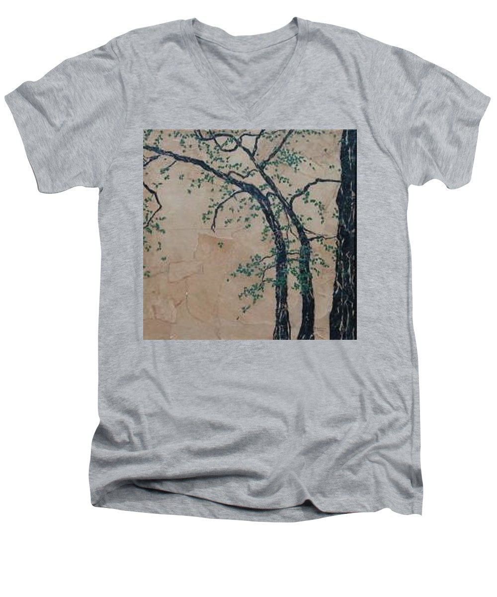 Leafy Tree Men's V-Neck T-Shirt featuring the painting Canandaigua Lake by Leah Tomaino
