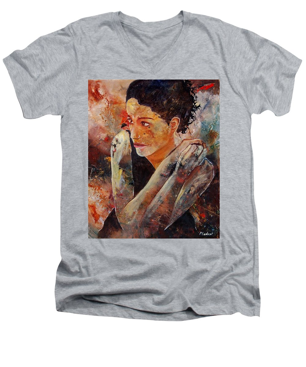 Figurative Men's V-Neck T-Shirt featuring the painting Candid Eyes by Pol Ledent