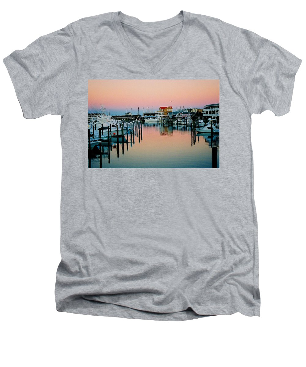 Cape May Men's V-Neck T-Shirt featuring the photograph Cape May After Glow by Steve Karol