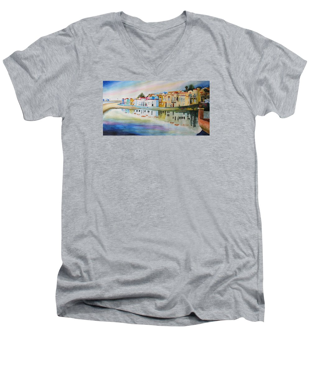 Capitola Men's V-Neck T-Shirt featuring the painting Capitola by Karen Stark