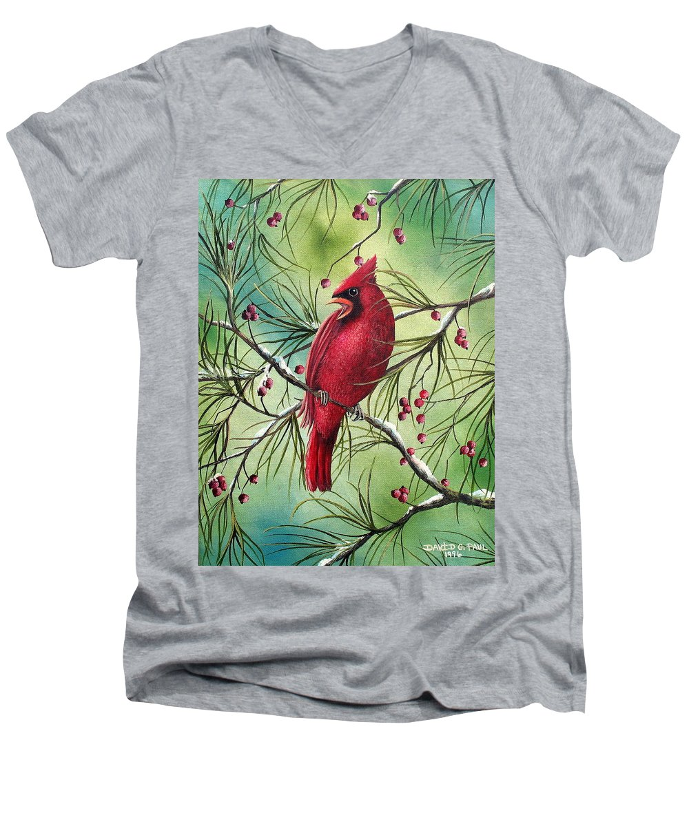 Cardinal Men's V-Neck T-Shirt featuring the painting Cardinal by David G Paul