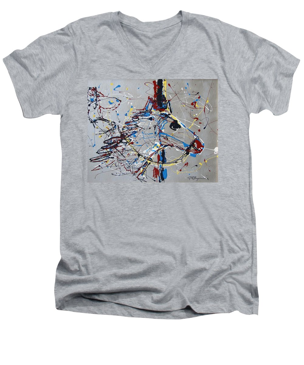 Carousel Horse Men's V-Neck T-Shirt featuring the mixed media Carousel Horse by J R Seymour