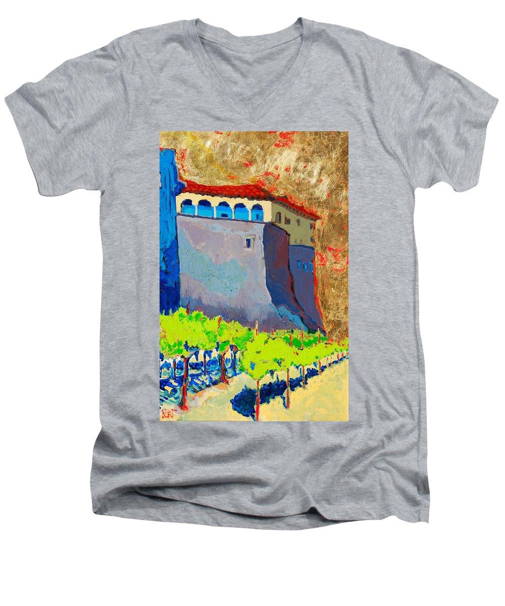 Castle Men's V-Neck T-Shirt featuring the painting Castello Di Villafranca by Kurt Hausmann
