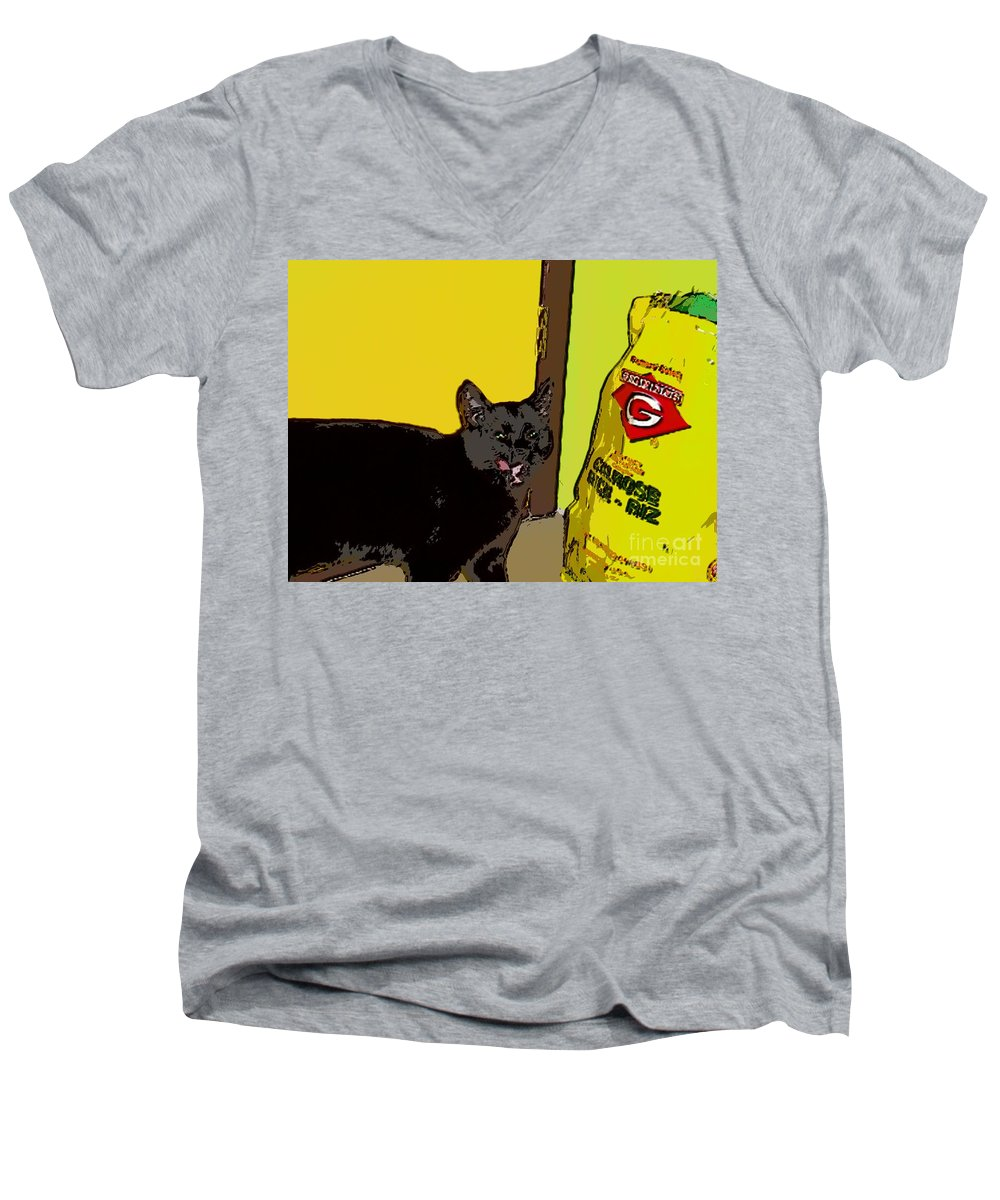 Photograph Cat Black Rice Yellow Critter Green Red Men's V-Neck T-Shirt featuring the photograph Cat And Rice by Seon-Jeong Kim