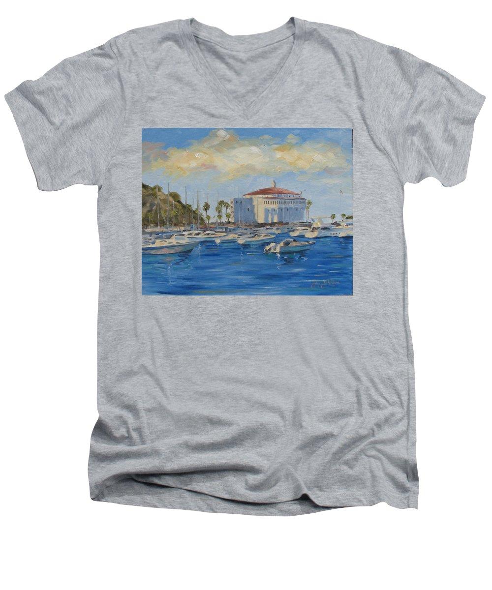 California Men's V-Neck T-Shirt featuring the painting Catallina Casino by Jay Johnson