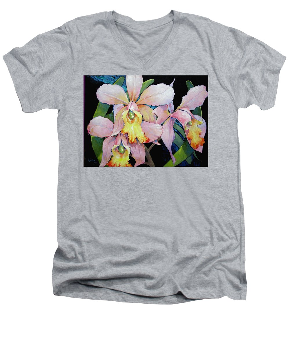 Catalya Men's V-Neck T-Shirt featuring the painting Catalya Arrangement by Jerrold Carton