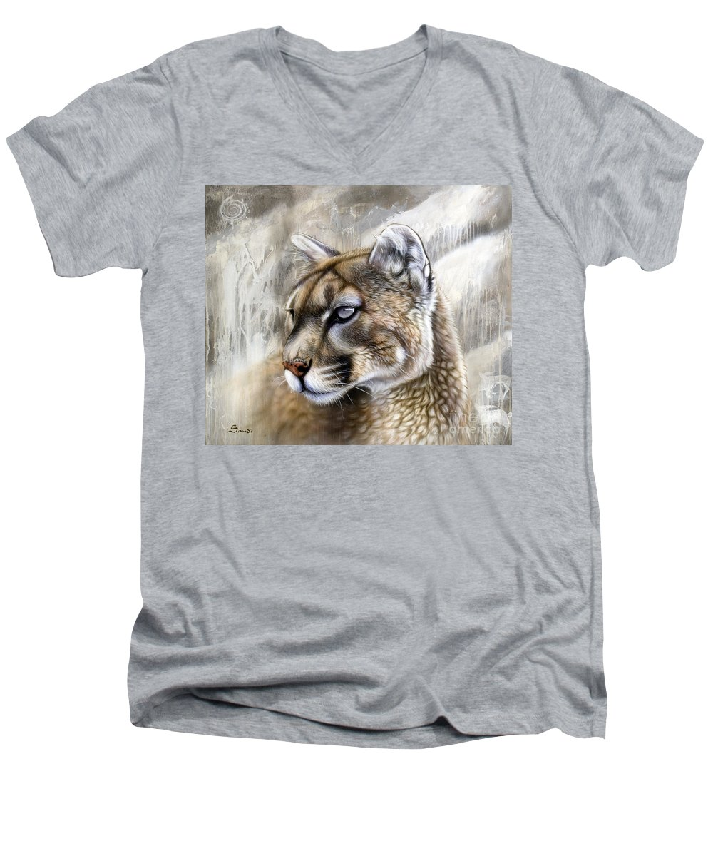 Acrylic Men's V-Neck T-Shirt featuring the painting Catamount by Sandi Baker