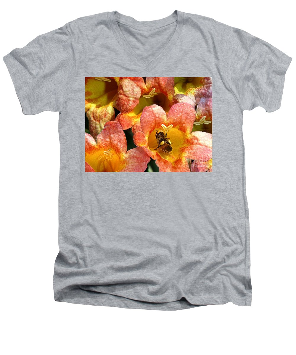 Nature Men's V-Neck T-Shirt featuring the photograph Caught Up In The Work by Lucyna A M Green