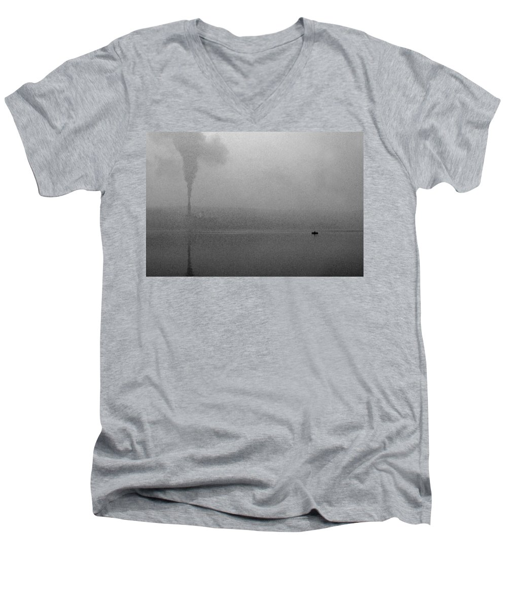 Solitude Men's V-Neck T-Shirt featuring the photograph Cayuga Solitude by Jean Macaluso