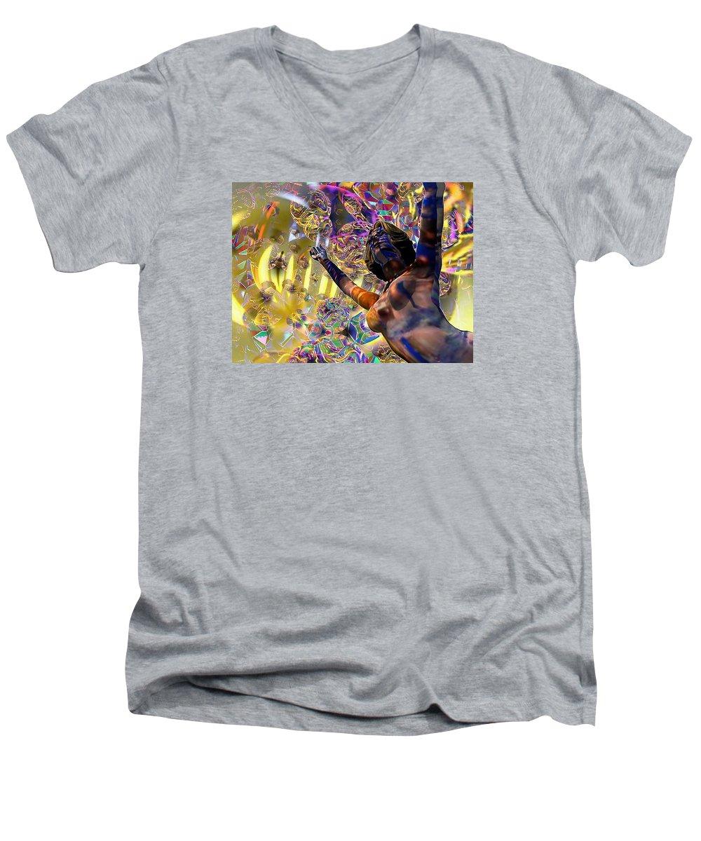 Woman Men's V-Neck T-Shirt featuring the digital art Celebration Spirit by Dave Martsolf